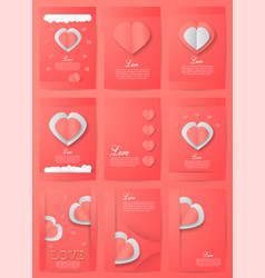 set of invitation background in paper cut style vector image