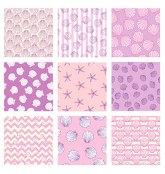 Set of sea and nautical seamless patterns in vector