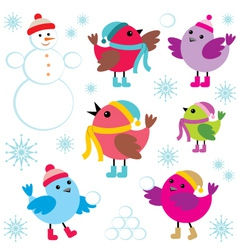 Set of winter birds and snow man vector image