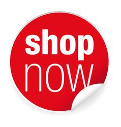 Shop now label sticker vector