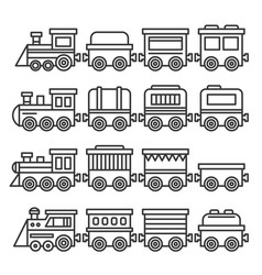 Simple style color toy trains and wagons set line vector