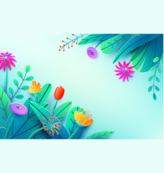 Summer background with paper cut fantasy flowers vector