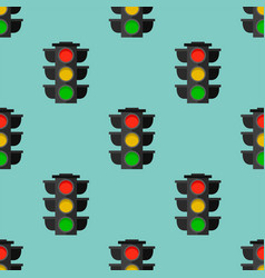 traffic lights safety stop seamless pattern vector image