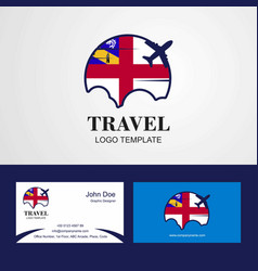 Travel herm flag logo and visiting card design vector
