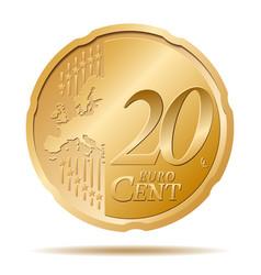 Twenty euro cent coin 20 vector