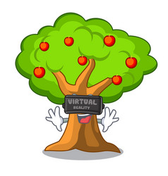 virtual reality apples on tree branch the vector image