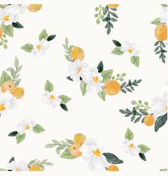 Watercolor white flower and orange fruit bouquet vector