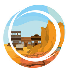 western village with round abstract symbol vector image