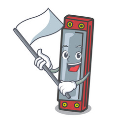 With flag harmonica mascot cartoon style vector