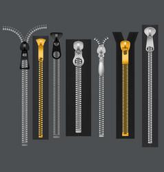 Zippers metal fastener zipper fabric accessories vector