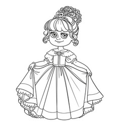 beautiful little princess curtsies outlined for vector image vector image