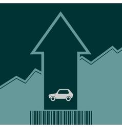 Car icon on grow up arrow and bar code vector