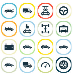 Car icons set collection of wheel fixing truck vector