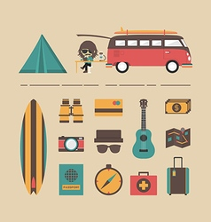 178van travel equipment vector