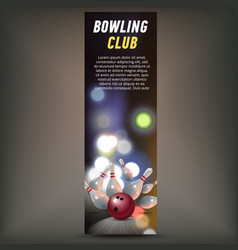bowling vertical banner with bowling champ club vector image vector image