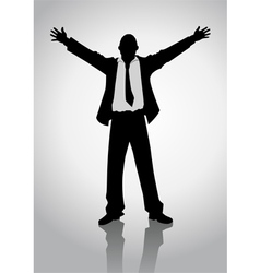 Businessman standing with open arms vector