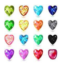Colored heart cut gems vector image vector image