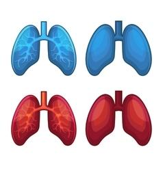 Human Lung Icons Set vector image