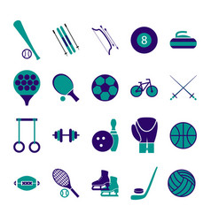sport icon signs and symbols blue set vector image
