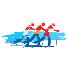 crosscountry skiers team vector image