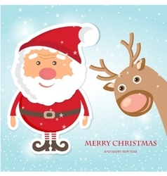Cute Santa Claus and Reindeer on christmas vector image vector image