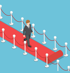 isometric businessman walking on red carpet vector image vector image