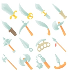Steel arms items icons set cartoon style vector image