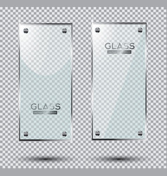 two glass plates with steel rivets isolated on vector image vector image