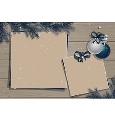 Wooden board with christmas decorations vector image vector image