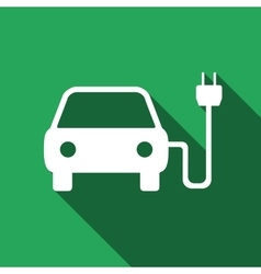 Electric powered car symbol icon with long shadow vector image vector image