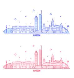 glasgow skyline scotland uk city buildings vector image