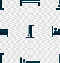 Hotel icon sign Seamless pattern with geometric vector image
