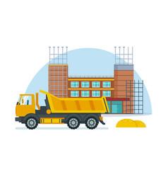 process building school premises with help truck vector image