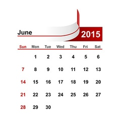 simple calendar 2015 year june month vector image vector image