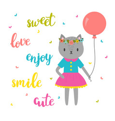sweet card for little princess funny postcard for vector image vector image