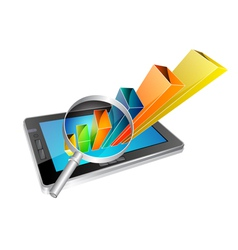tablet and graph vector image vector image