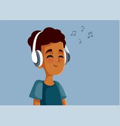 African teen boy wearing headphones listening vector