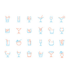 Alcohol drink glass icons martini shaking vector