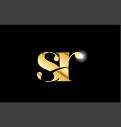 Alphabet letter sr s r gold golden metal metallic vector