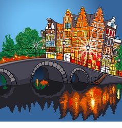 Amsterdam canal bridge and typical houses Holland vector