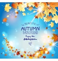Autumn leaves on blue sky vector