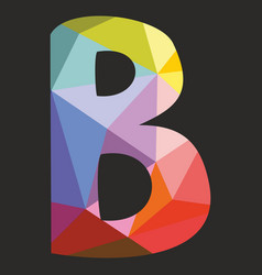B low poly wrapping surface alphabet letter vector