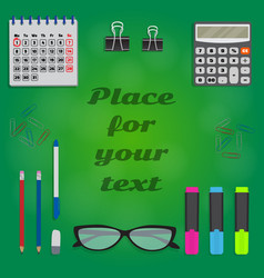 Background with stationery and space for text in vector