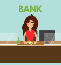 bank teller or cashier behind window vector image