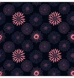 Beautiful line dark flowers vector image