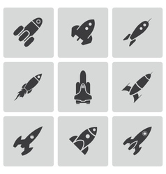 Black rocket icons set vector