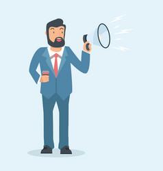 businessman character talking into megaphone vector image