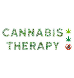Cannabis therapy label mosaic of cannabis vector