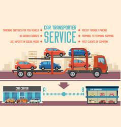 Car transporter service flat vector