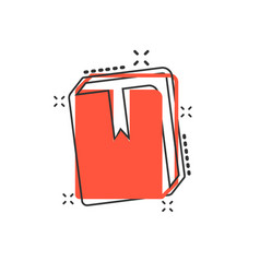cartoon book library icon in comic style vector image